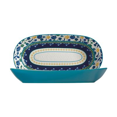 Rhapsody Oblong Bowl 43x22cm Blue Gift Boxed