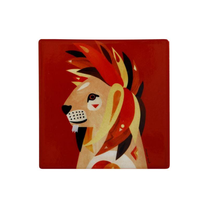 Pete Cromer Wildlife Ceramic Square Coaster 9.5cm Lion