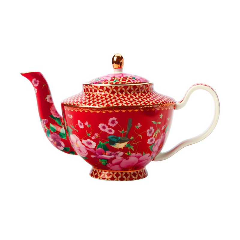 Teas & C's Silk Road Teapot with Infuser 500ML Cherry Red Gift Boxed