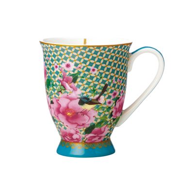 Teas & C's Silk Road Footed Mug 300ML Aqua Gift Boxed