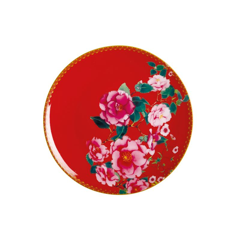 Teas & C's Silk Road Coupe Plate 19.5cm Cherry Red Gift Boxed