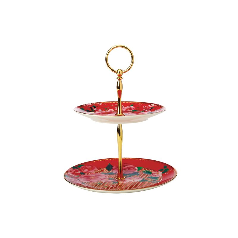 Teas & C's Silk Road 2 Tiered Cake Stand Cherry Red Gift Boxed