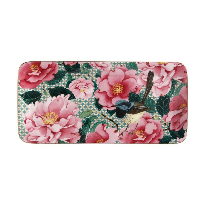 Teas & C's Silk Road Rectangle Platter 25x12cm Aqua Gift Boxed