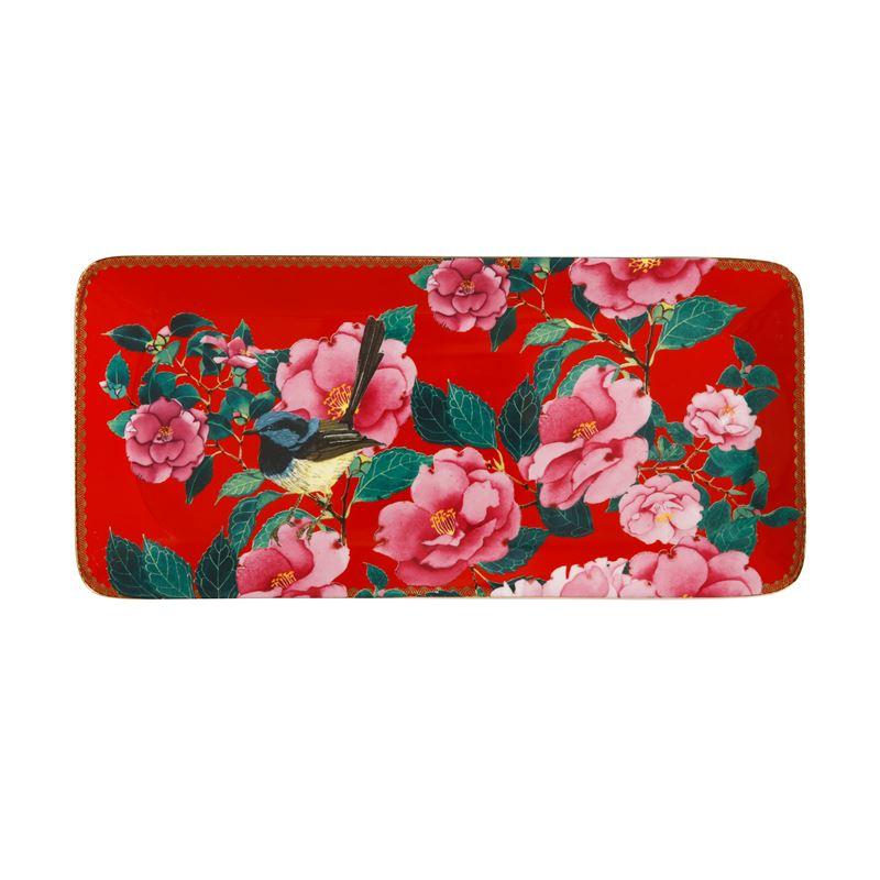 Teas & C's Silk Road Rectangle Platter 33×15.5cm Cherry Red Gift Boxed