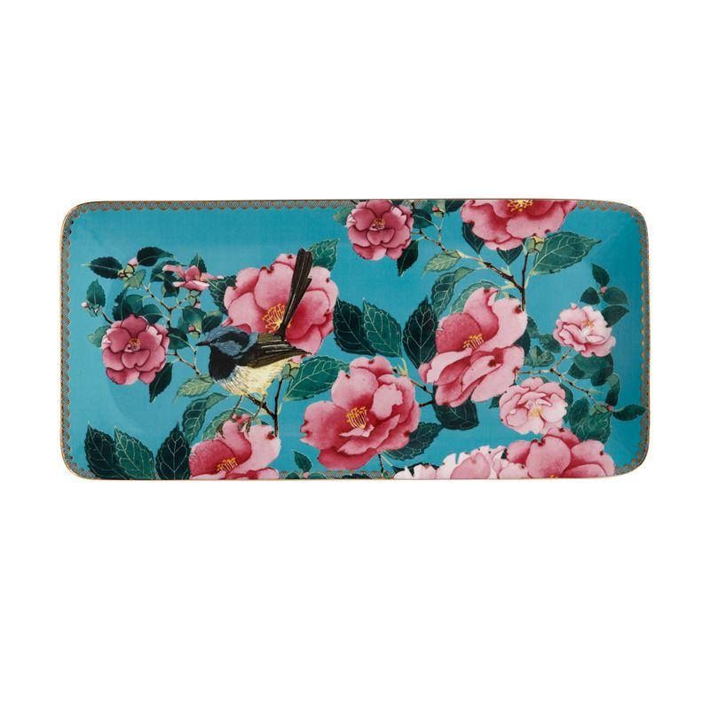 Teas & C's Silk Road Rectangle Platter 33×15.5cm Aqua Gift Boxed