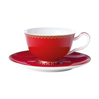 Teas & C's Classic Footed Cup & Saucer 200ML Cherry Red Gift Boxed