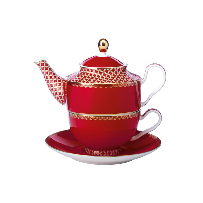 Teas & C's Classic Tea for One with Infuser 380ML Cherry Red Gift Boxed