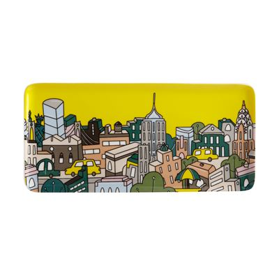 Megan McKean Cities Rectangle Plate 25x12cm New York Gift Boxed