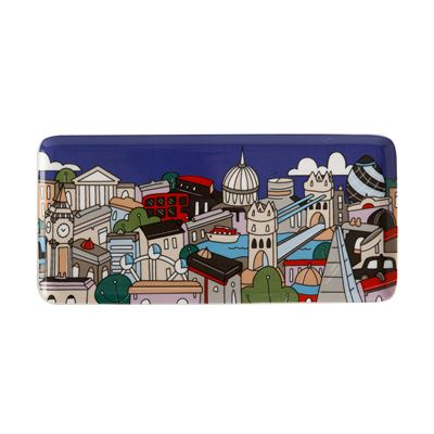 Megan McKean Cities Rectangle Plate 25x12cm London Gift Boxed