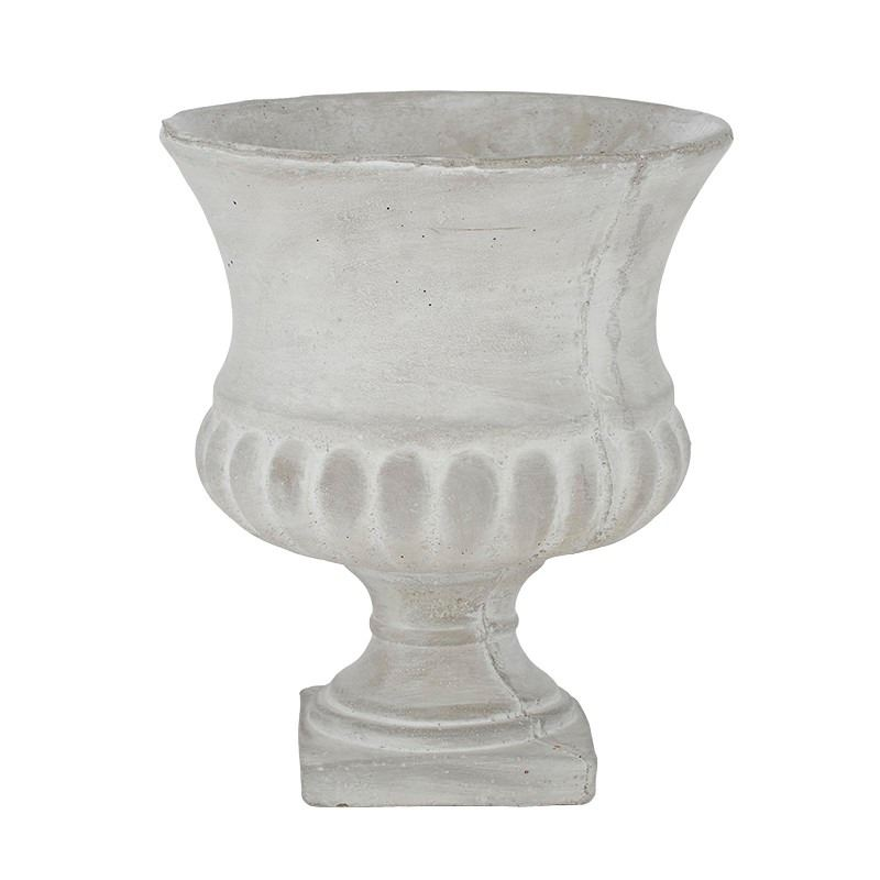 Greer Cement Urn 24.5×28.5cm Grey