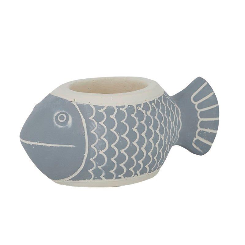 Mahi Fish Cement Planter 18×7.5cm Blue