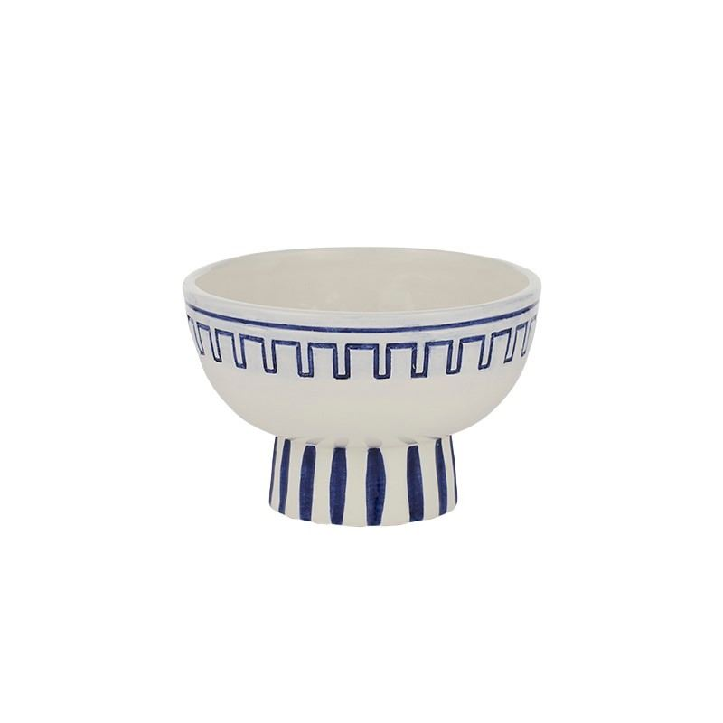 Hera Cer Footed Bowl 18x12cm White/Blue