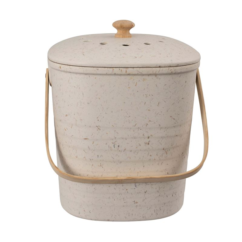 Bamboo Square Compost Bin White 19x26cm