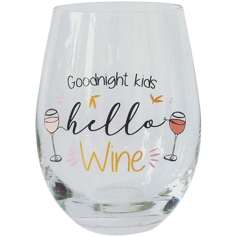 Goodnight Kids Hello Wine Glass