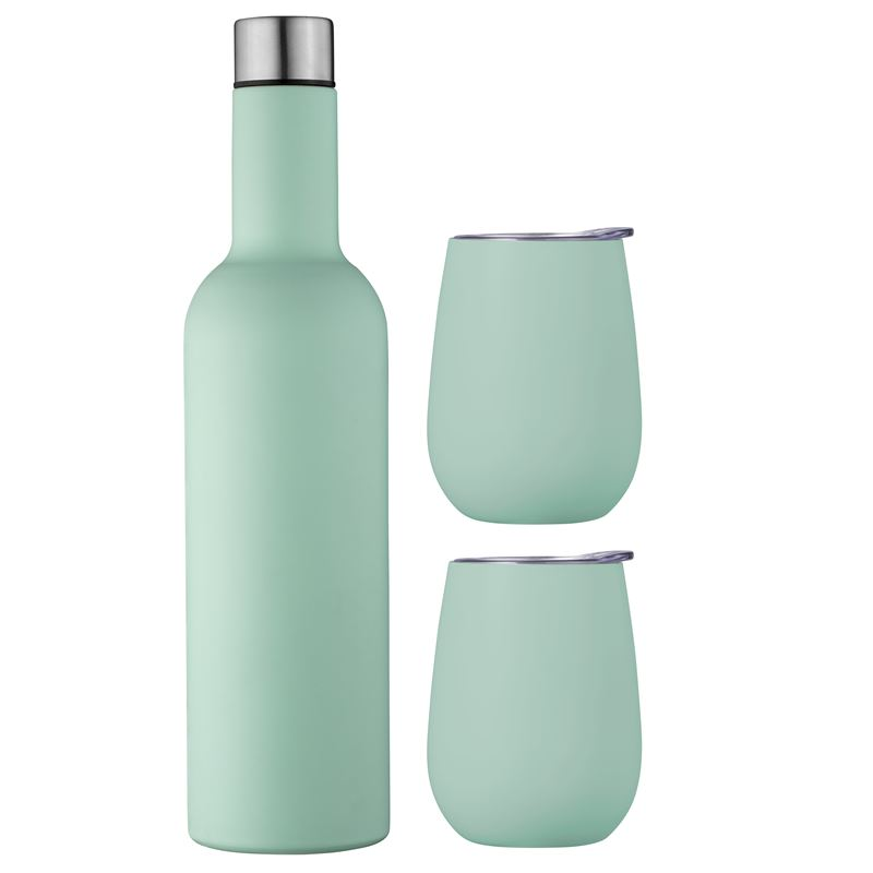 Double Wall Insulated Wine Traveler Set – Duck Egg Blue