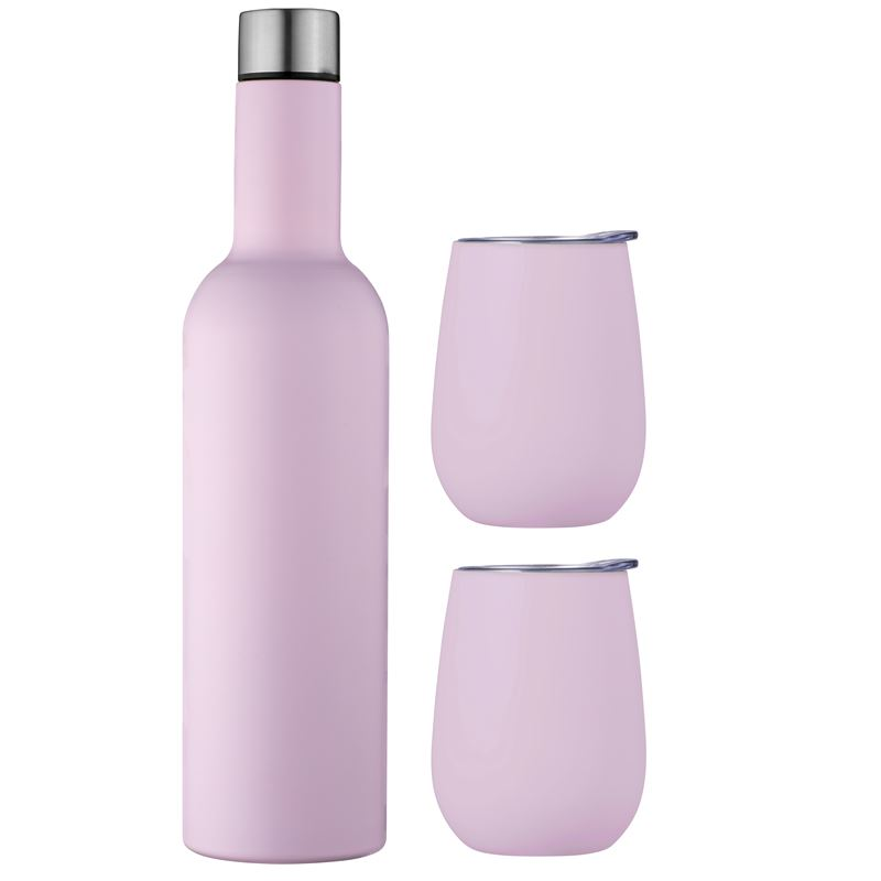 Double Wall Insulated Wine Traveler Set – Pink