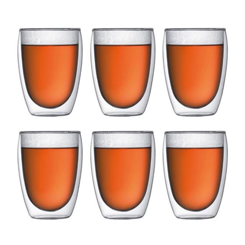 Pavina 6 Pcs Glass, Double Wall, Medium, 0.35 L, 12 Oz Transparent