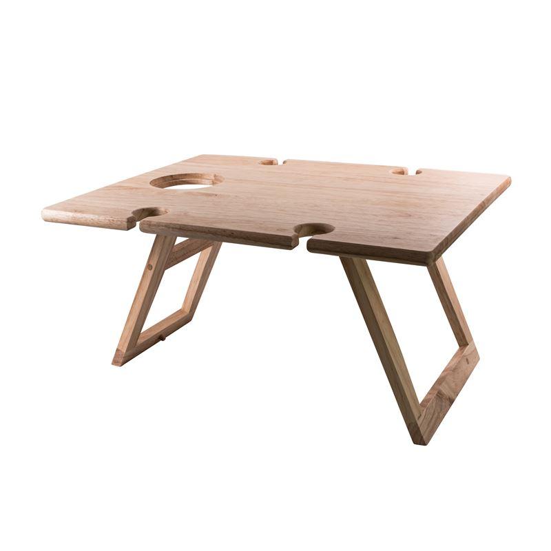 Folding Wine & Picnic Table Rubberwood