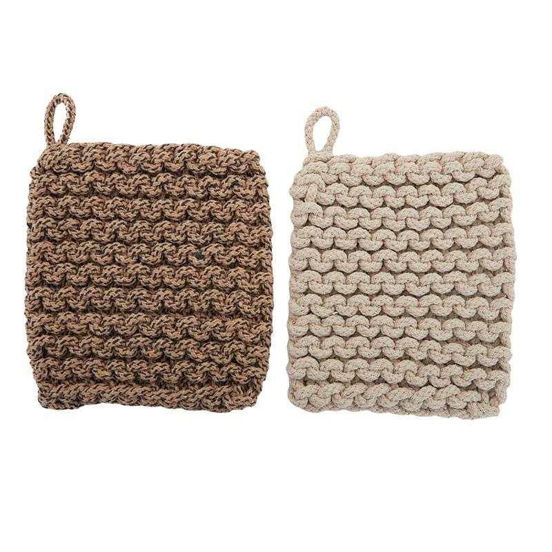 Knit Cotton Trivet 20x20cm Natural – assorted colours