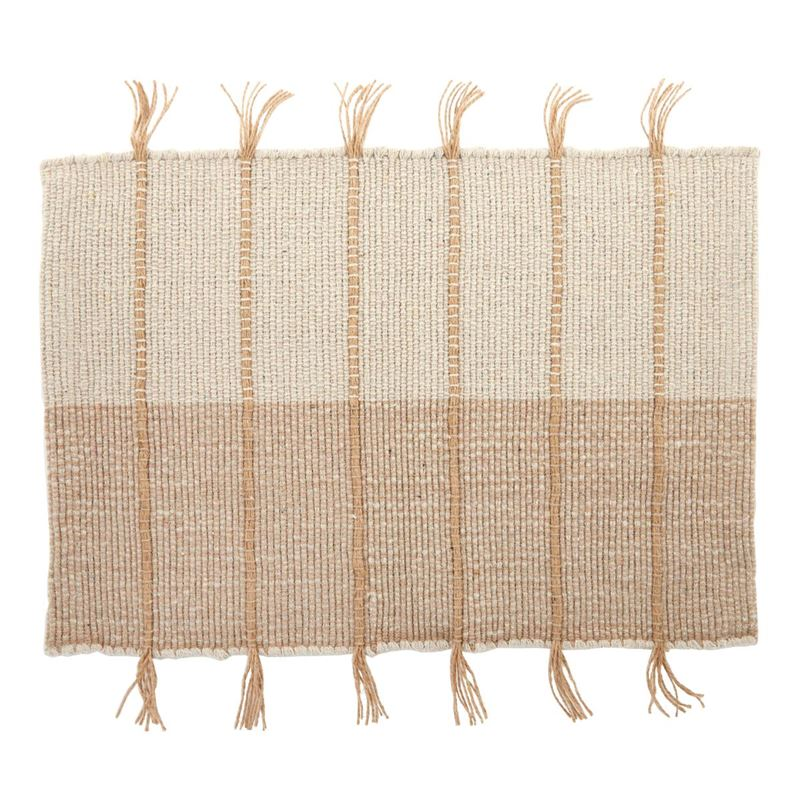 Chester Cotton Placemat 35x48cm Taupe/White