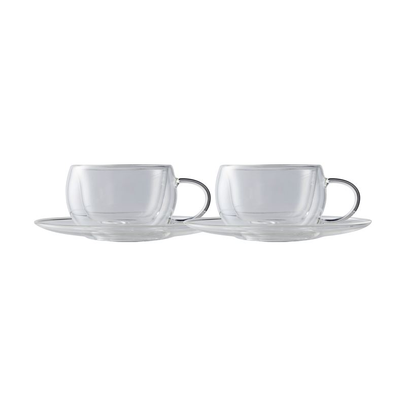 Blend Double Wall Cup & Saucer 80ML Set of 2 Gift Boxed