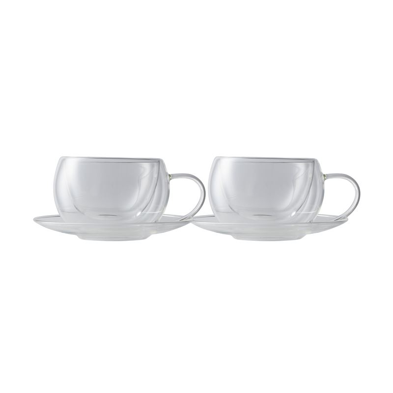 Blend Double Wall Cup & Saucer 270ML Set of 2 Gift Boxed
