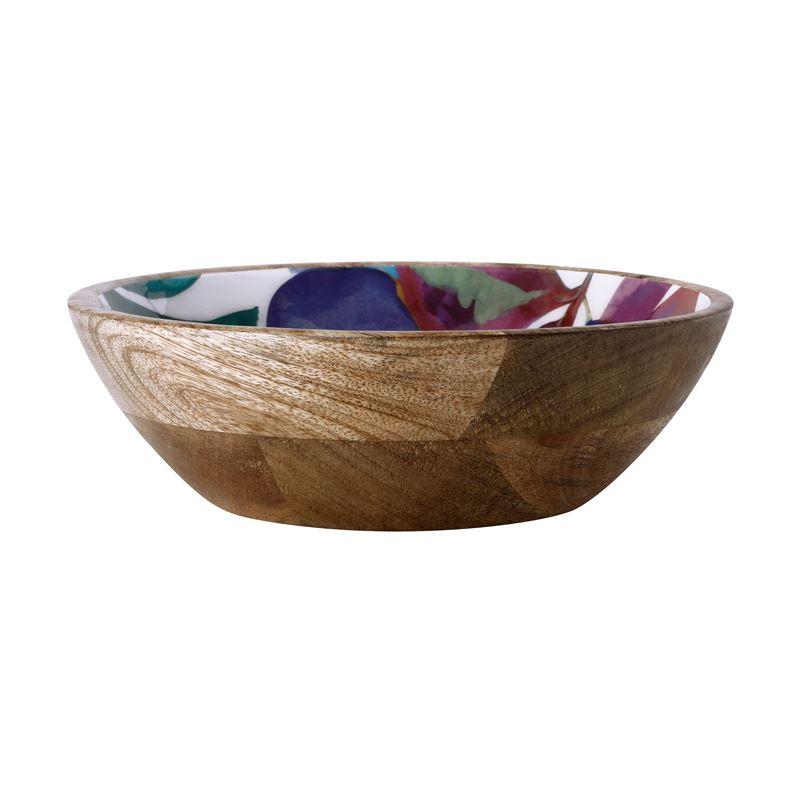 Samba Mango Wood & Enamel Finish Bowl 24cm
