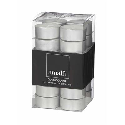 Classic Unscented Pack Of 28 Tealights White 1.5X4Cm