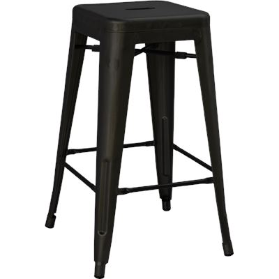 Replica Tolix Metal Bar Stool Frosted Black 76cm