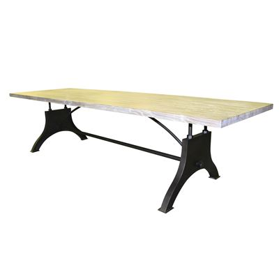 Reclaimed Hardwood Dining Table with Iron Base 3m