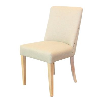 Classic Linen Dining Chair Whitewashed Legs