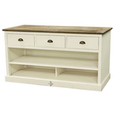 Riviera 3 Drawer Buffet White & Natural