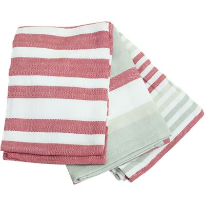 3 Pack Tea Towels  50x70cm  Red Story